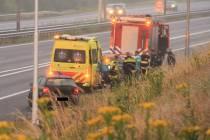 Eenzijdig ongeval op de A32 bij Heerenveen