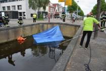 Reddingsactie jonge eendjes in de Lindegracht trekt veel bekijks