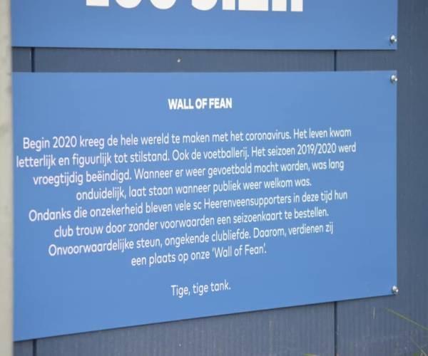 Onthulling Wall of Fean voorafgaand aan wedstrijd sc Heerenveen - Willem II