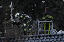 Schoorsteenbrand aan de Schoterlandseweg in Oudehorne