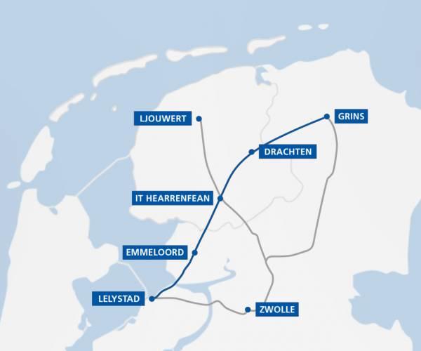 Fryslân en Groningen denken verschillend over Lelylijn